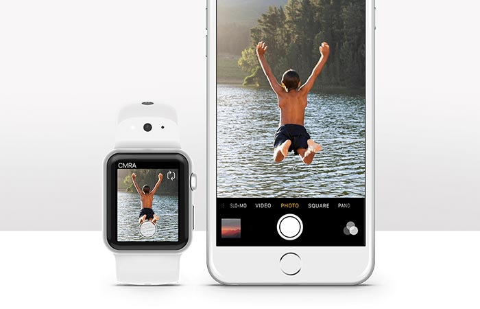 Apple watch with a camera band and an iphone