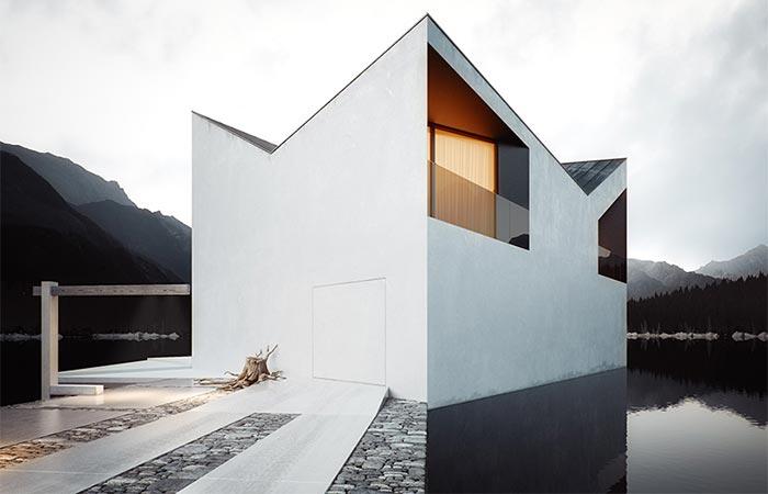 a white lake house exterior