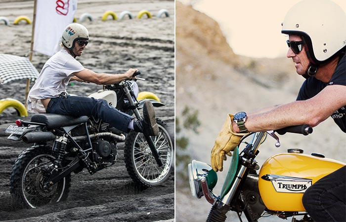 Two different views of men wearing the Road Glacier while on their motorcycles.