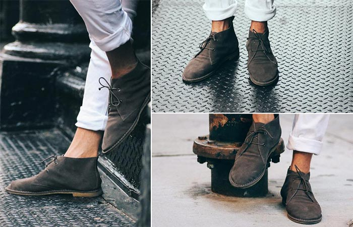 three images of charcoal chukka boots