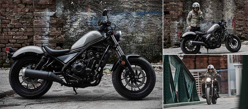 Three different views of the 2017 Honda Rebel