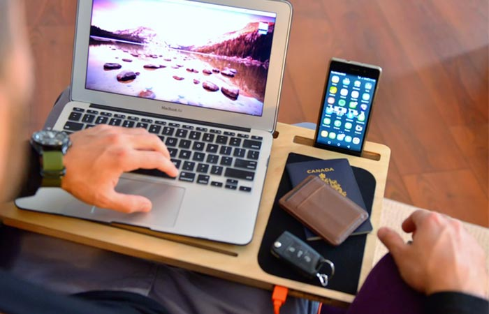 Gadgets, wallet, passport and keys being used on the LapPad GO+