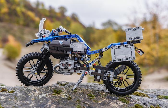 Lego BMW R1200GS on a rock