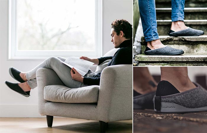 three images of guys wearing Mahabis Classic Slippers