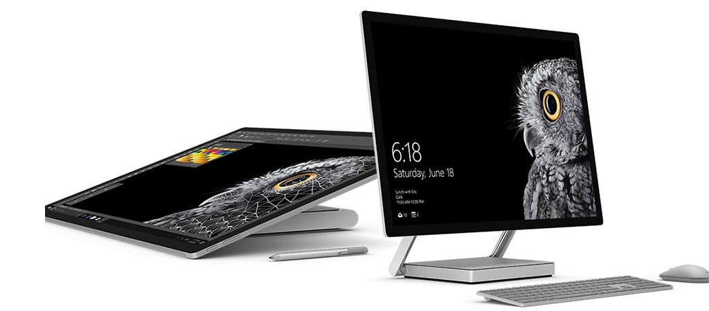 Two different views of the Microsoft Surface Studio