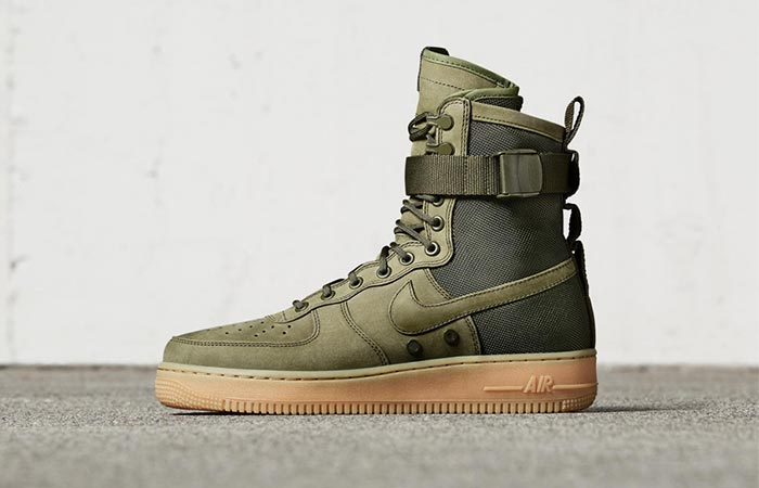 olive Nike shoe from the side