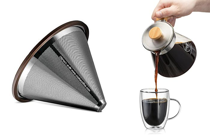 stainless steel coffee filter and pouring coffee into a glass