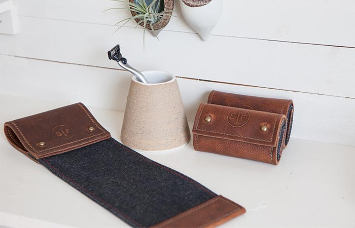 shaving strop on a counter