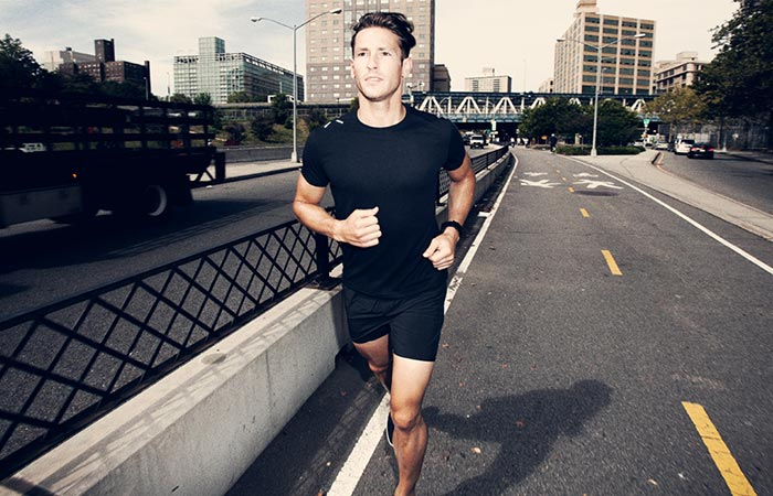 a guy running in The Foundation Shirt and Shorts by Ten Thousand