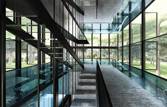 the middle floor with a swimming pool