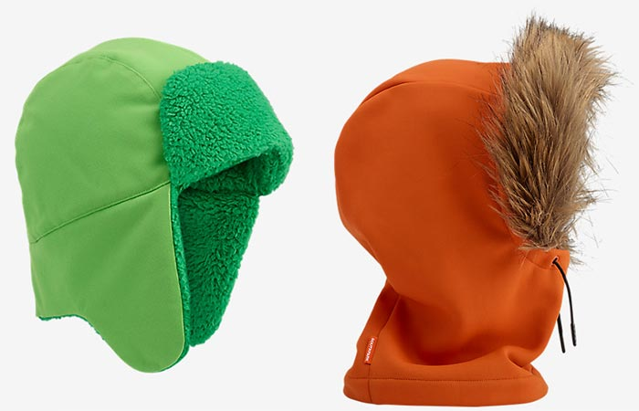 Burton X South Park Kyle's trapper hat and Kenny's hood.