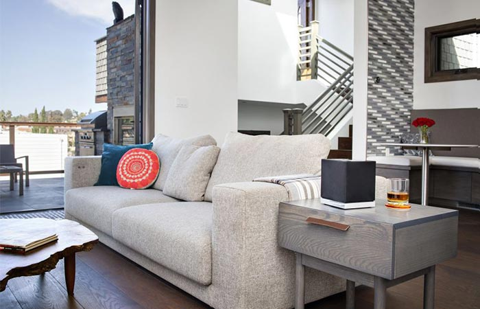 a wireless speaker in a living room