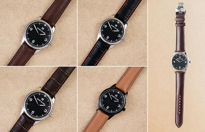 Different watch case colors and straps in the Henry Blake collection