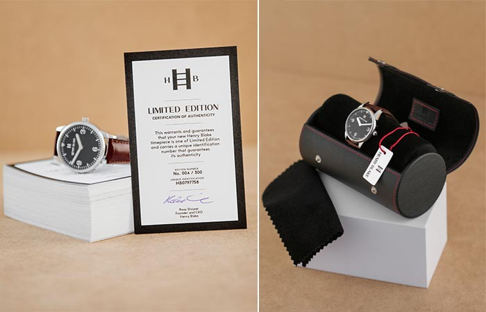Henry Blake watch with its limited edition certificate and a watch in its roll case.