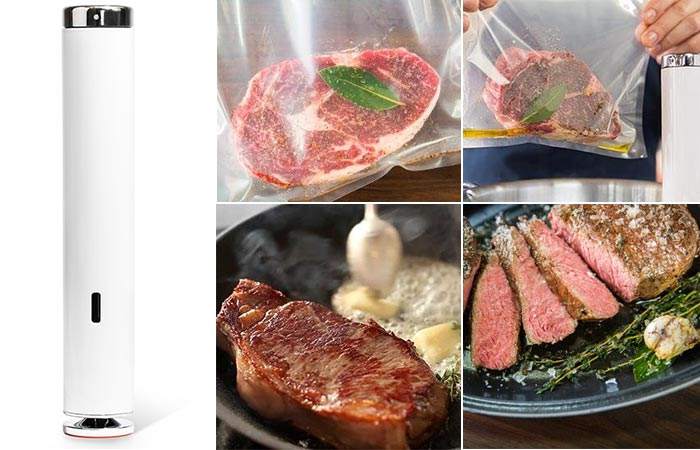 Joule Sous Vide next to the different cooking levels