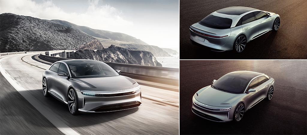 Three different views of the Lucid Motors Air