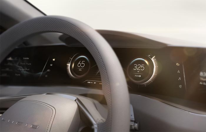 Lucid Motors Air view of the steering wheel and dashboard
