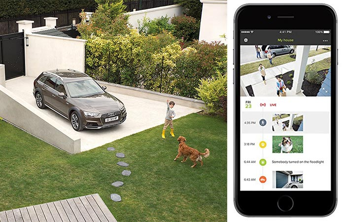 A view of the garden from the Netatmo Presence and a view of its mobile app