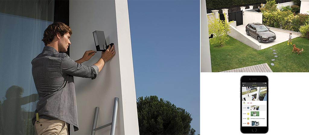 Man installing the Netatmo Presence and a picture of its view