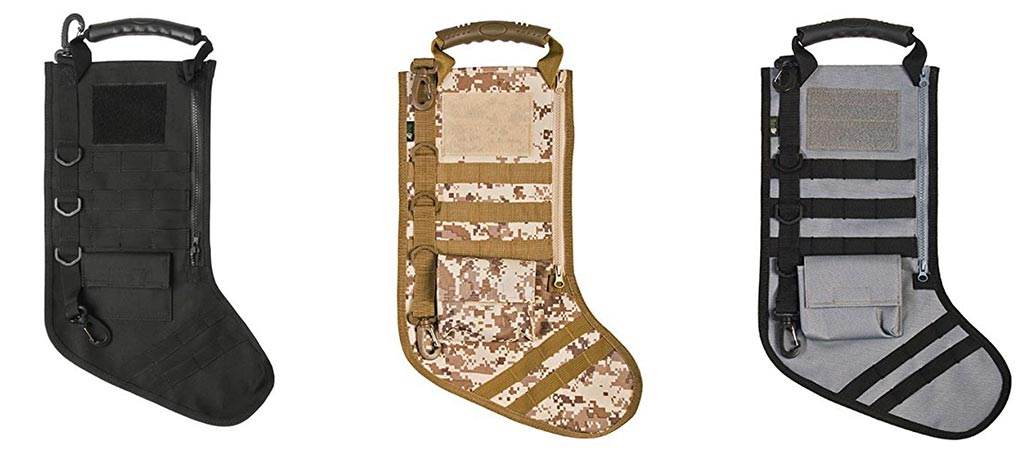 The Ruckup Tactical Christmas Stocking With Molle Gear in three different colors