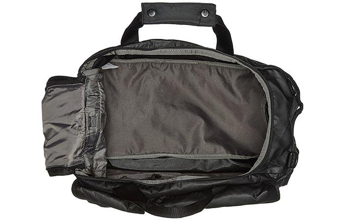 Timbuk2 Navigator Duffel bag with main compartment open.