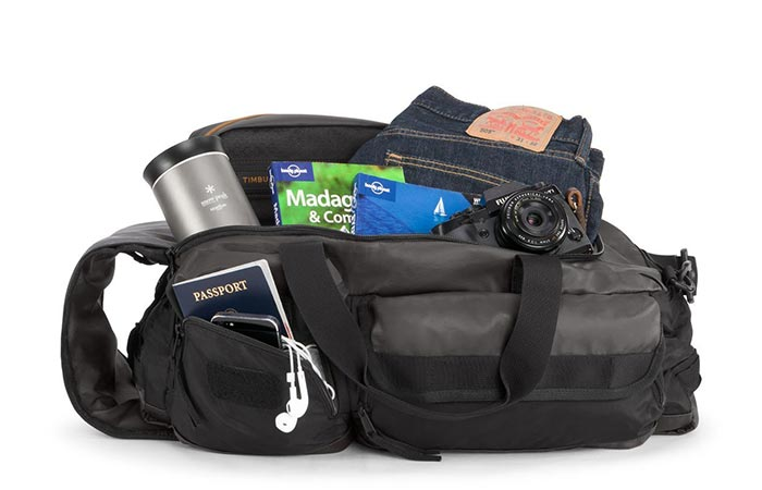 Timbuk2 Duffel packed with traveling goods