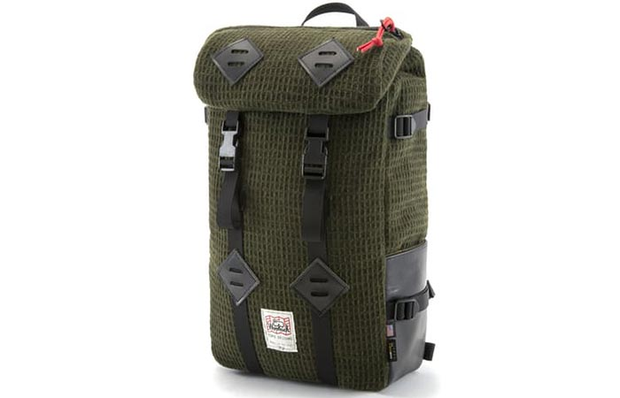 Front side view of the Topo Designs X Woolrich Olive Waffle