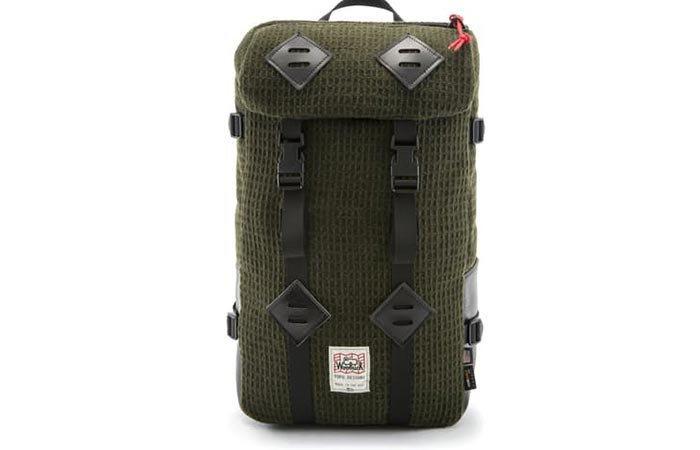 Front view of the Topo Designs X Woolrich Olive Waffle