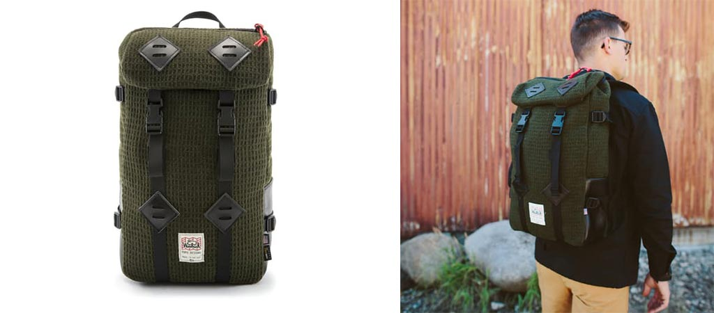 Two different views of the Topo Designs X Woolrich Olive Waffle