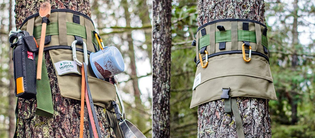 Two different views of the Tree Hugger. One with gear and one without.