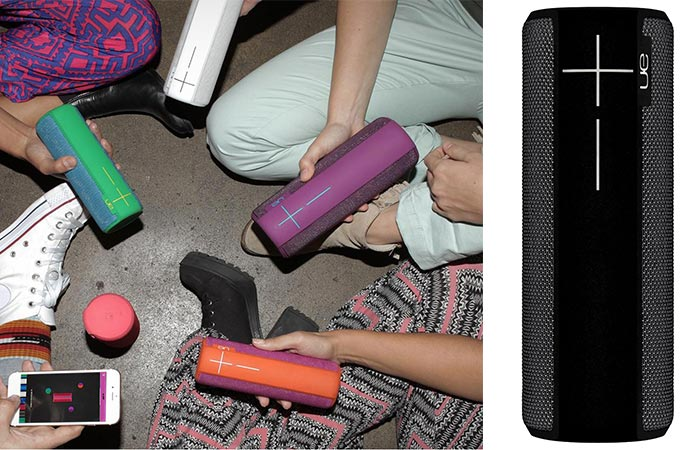 People connecting their Ultimate Ears Boom 2 speakers and a shot of the black version