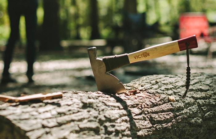 "Victor Manitou 13"" Half Hatchet chopped into a log"
