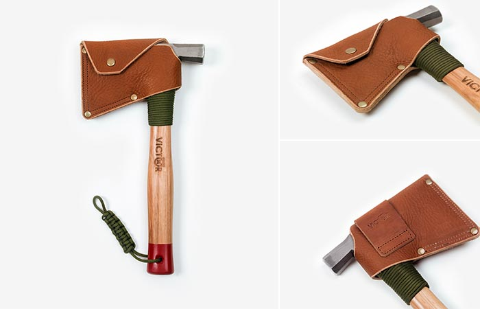 """Victor Manitou 13"""" Half Hatchet with leather holster"""