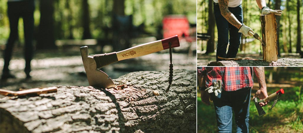 """Three different images of the Victor Manitou 13"""" Half Hatchet being used by a man"""