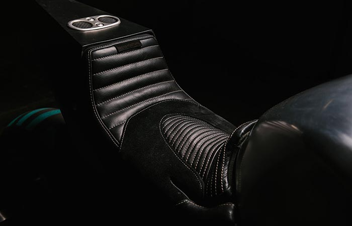 Close up of the seat on the BMW S 1000 RR Turbo