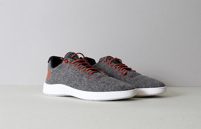 a pair of grey wool sneakers