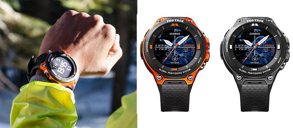 Man wearing the Casio Pro Trek WSD-F20 and a picture of the two different colors