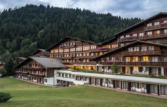 the exterior of HUUS Hotel Gstaad