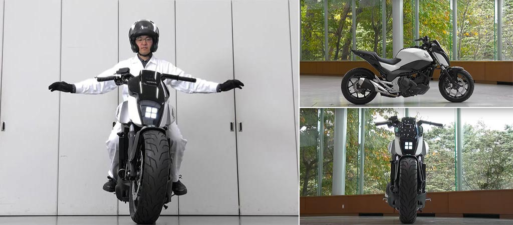 Three different views of Honda's Self-Balancing Motorcycle