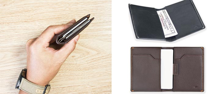 Two different views of the Ikepod Super Slim Men's Leather Wallet in black and brown