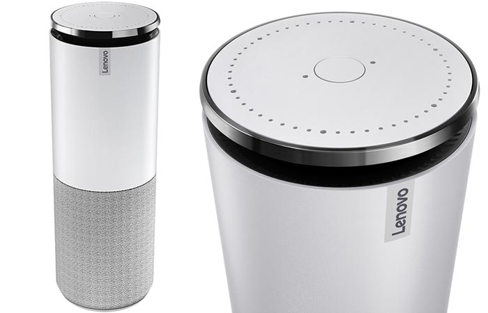 Two different views of the Lenovo Smart Assistant in white