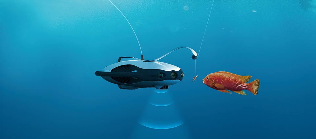 PowerRay Underwater Robot trying to lure a fish