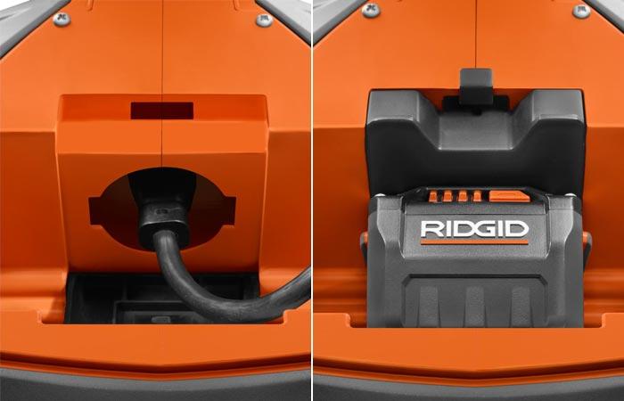 RidGid GEN5X Hybrid Upright Area Light cord and battery pack