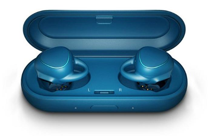 Blue Samsung Gear IconX Fitness Earbuds with charging case