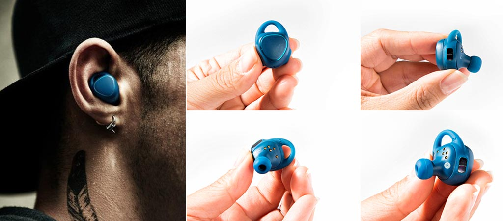 5 different views of the Samsung Gear IconX Fitness Earbuds in blue