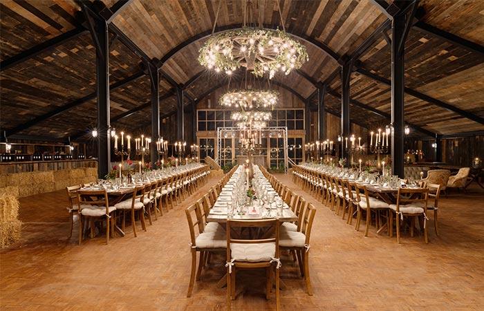 dining hay barn in Soho Farmhouse