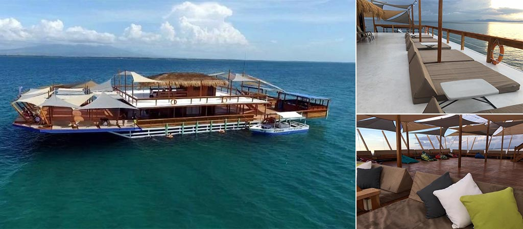 Three different views of the TawHai Floating Bar