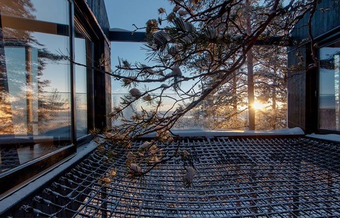 a net terrace on a treehotel