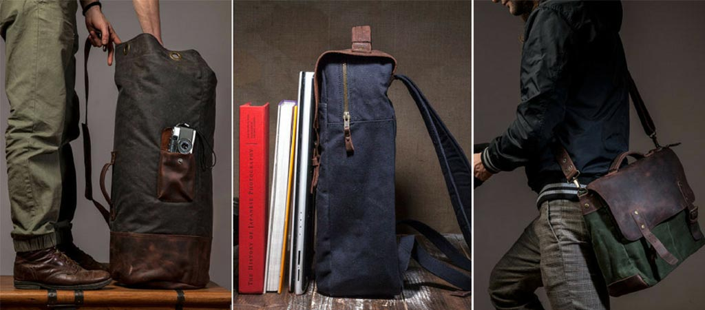 Tram21 Waxed Canvas And Saddle Leather Bags