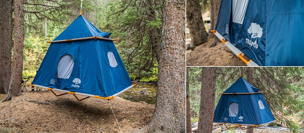 Three different views of the TreePod Suspended Camper Tent